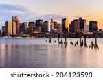 Boston Skyline At Sunset Viewed ...