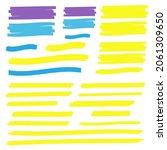 yellow highlight marker lines.... | Shutterstock . vector #2061309650