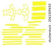 yellow highlighter brush lines. ... | Shutterstock . vector #2061309653