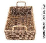 Brown wicker basket, box shaped, isolated over white background - stock photo
