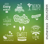 summer retro design elements.... | Shutterstock .eps vector #206142844