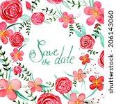 watercolor vintage flowers save ... | Shutterstock .eps vector #206143060