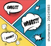 a set of comic bubbles and... | Shutterstock .eps vector #206145883