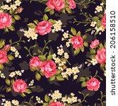 beautiful seamless floral... | Shutterstock .eps vector #206158510