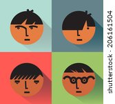 vintage flat boy head icons...   Shutterstock .eps vector #206161504