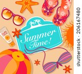 summer background with beach... | Shutterstock .eps vector #206167480