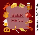 beer snacks  set icons for... | Shutterstock .eps vector #206171344