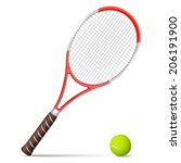tennis racket and ball isolated ... | Shutterstock .eps vector #206191900