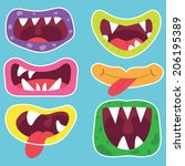 cute monster mouth   Shutterstock .eps vector #206195389
