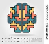 Stock vector brain from blocks with business icon vector 206199823