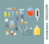 medical items. flat illustration | Shutterstock .eps vector #206222290
