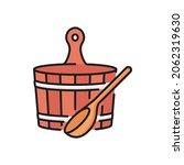 wooden bucket and ladle  sauna... | Shutterstock .eps vector #2062319630