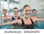 female fitness class doing aqua ... | Shutterstock . vector #206234293