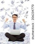business man make a victory...   Shutterstock . vector #206234770