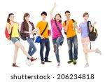 happy young students standing... | Shutterstock . vector #206234818