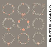 set of 9 hand drawn wreaths.... | Shutterstock .eps vector #206235340