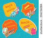 back to school lable of flat... | Shutterstock .eps vector #206236084
