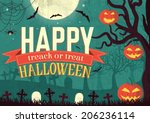 halloween time background... | Shutterstock .eps vector #206236114
