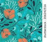 vector floral seamless pattern  | Shutterstock .eps vector #206242516