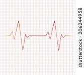 heart beats cardiogram... | Shutterstock . vector #206244958