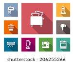flat home appliances icons set  ... | Shutterstock .eps vector #206255266