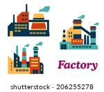 assorted flat factories icons... | Shutterstock .eps vector #206255278