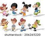group of happy cartoon children ...