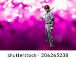 baseball player on a pink...   Shutterstock . vector #206265238