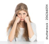 Small photo of Portrait Of Girl With Grouch Isolated On White Background