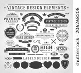 Vintage vector design elements. Retro style golden typographic labels, tags, badges, stamps, arrows and emblems set.  | Shutterstock vector #206268208