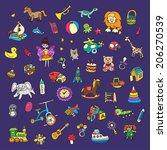 set of colorful children's toys | Shutterstock .eps vector #206270539