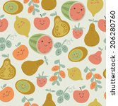 seamless background with fruits.... | Shutterstock .eps vector #206280760