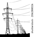high voltage towers silhouette  ... | Shutterstock .eps vector #206288026