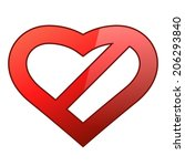 abstract red heart shaped... | Shutterstock .eps vector #206293840