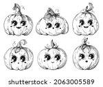 set of different pumpkins for... | Shutterstock .eps vector #2063005589