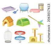 pet supplies set. accessories...   Shutterstock .eps vector #2063017613