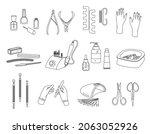 manicure flat line set of...   Shutterstock .eps vector #2063052926