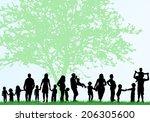 family silhouettes | Shutterstock .eps vector #206305600