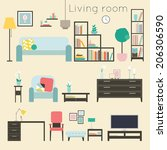 living room. furniture and home ... | Shutterstock .eps vector #206306590