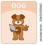 alphabet flashcard with cute... | Shutterstock .eps vector #2063105060