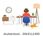 woman freelancer  manager sits...   Shutterstock .eps vector #2063111300