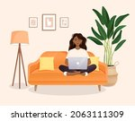 woman sits on the couch in a...   Shutterstock .eps vector #2063111309