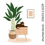 cute brown cat sits on the...   Shutterstock .eps vector #2063111639