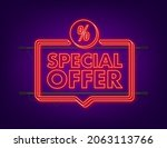 special offer neon style red... | Shutterstock .eps vector #2063113766
