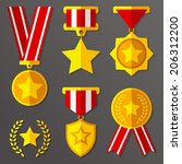 trophy  awards  flat medals set ...