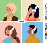people with headphones podcast...   Shutterstock .eps vector #2063123093