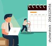 men planning day with a calendar   Shutterstock .eps vector #2063123456