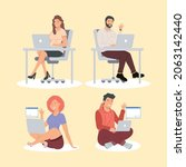 four persons in video...   Shutterstock .eps vector #2063142440