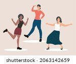 group of three female friends...   Shutterstock .eps vector #2063142659