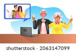 young family having virtual...   Shutterstock .eps vector #2063147099